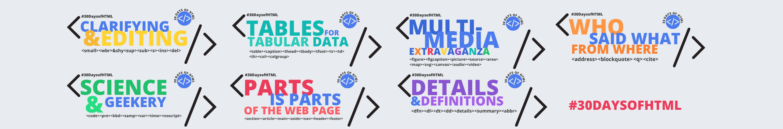 #30DaysofHTML banner graphic.